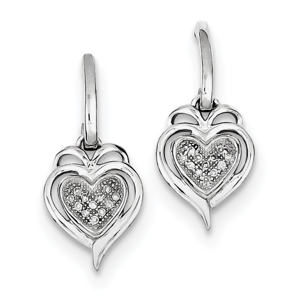 ICE CARATS 925 Sterling Silver Diamond Heart Post Stud Drop Dangle Chandelier Earrings Love Fine Jewelry Gift Set For Women Heart