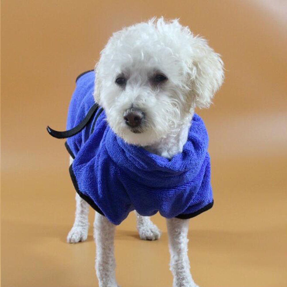 26f648d78b   Amazon.com  Fosinz Soft Super Absorbent Quick Drying Dog Microfiber Towel  Dog Bath Robe Easy Wear Coat (L (Chest 30.7