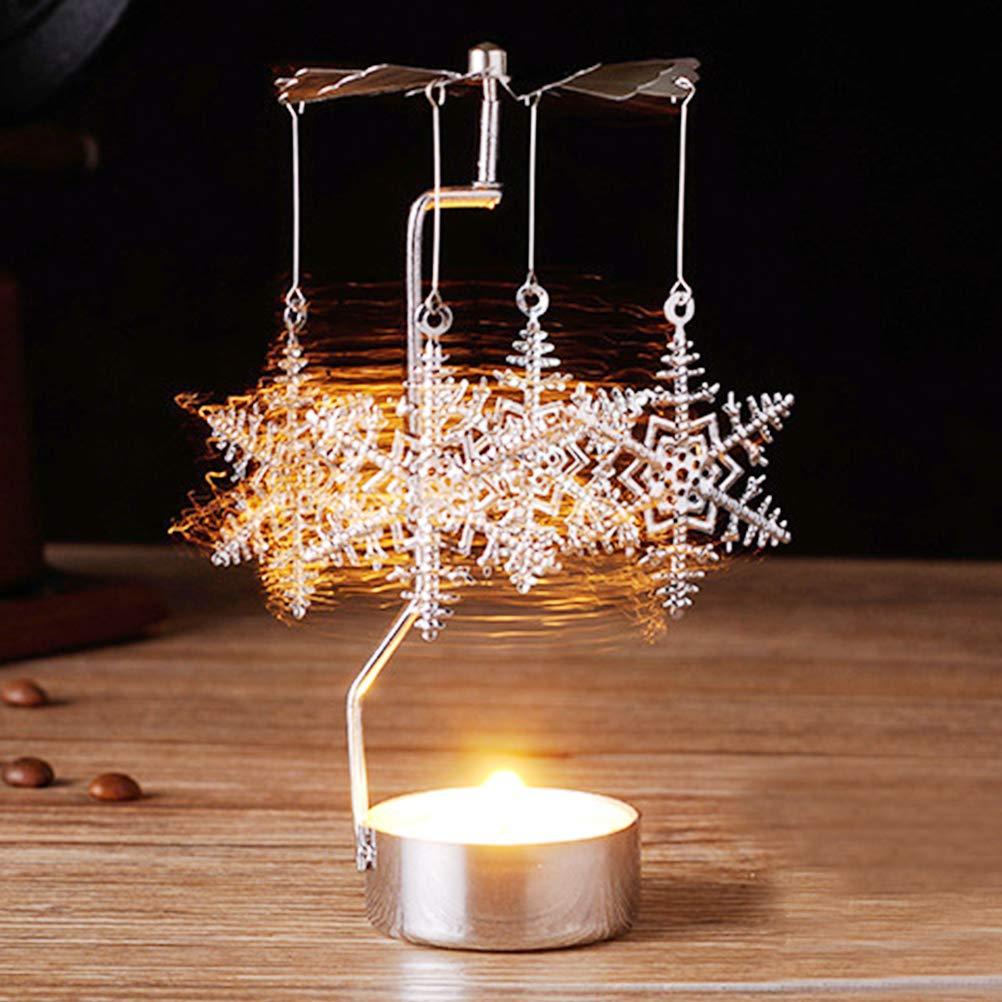 LEDMOMO Supporto di candela, supporto di luce del tè del basamento del supporto della candela del candeliere di rotazione di rotazione per la decorazione del partito di festa