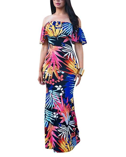 Mujer De Vestir Verano Largos Sin Mangas Estampados Vestidos Coctail Beach Party Max Dress De Fiesta