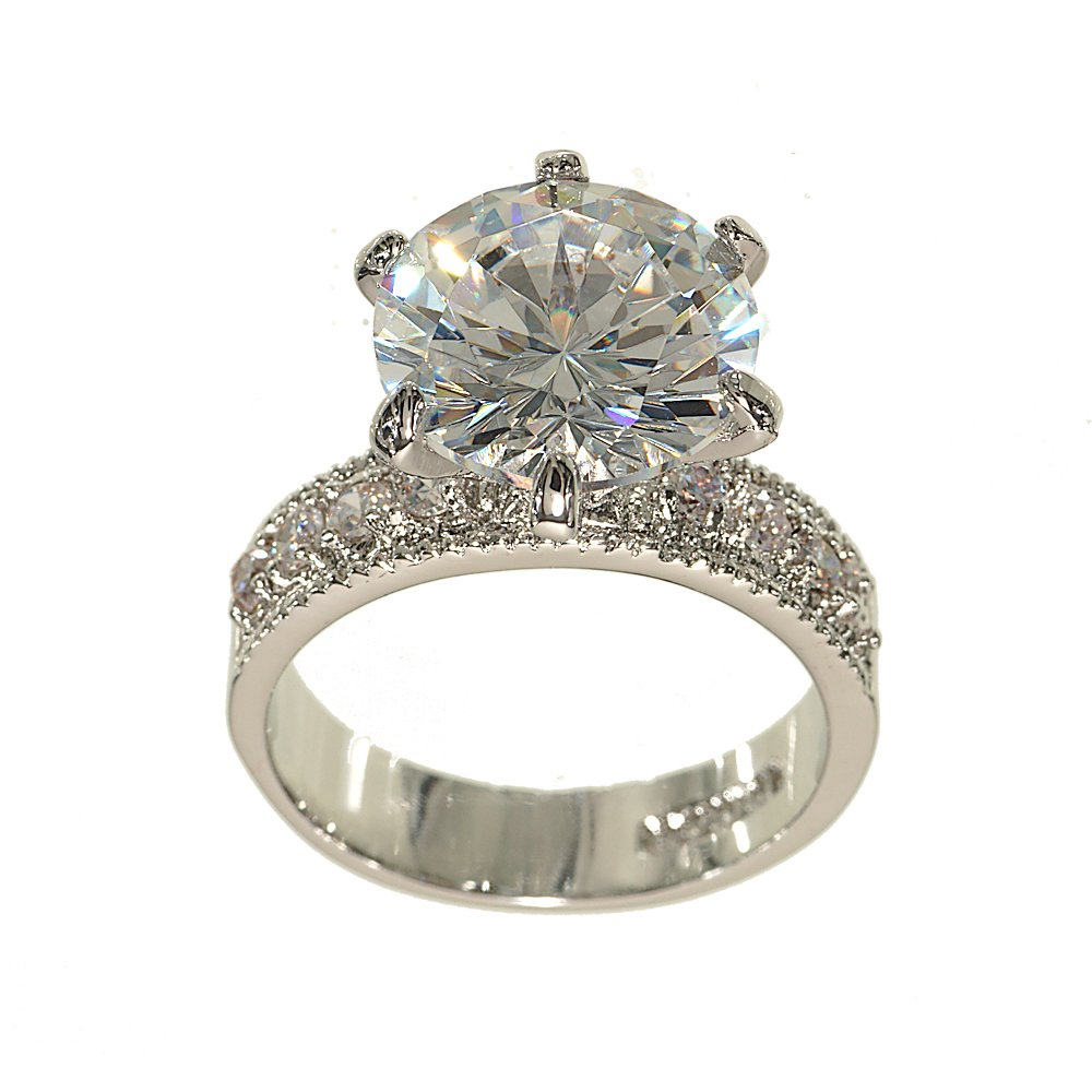 Huge Silvertone Round Engagement Ring Style in Clear Cubic Zirconia with Four Stones on Each Side Size 7
