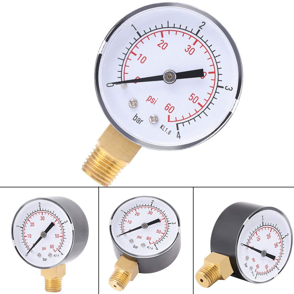 0-60psi 1//4 NPT Connection Glycerine Filled Pressure Gauge with a Stainless Steel Case Stainless Steel Bezel ROSEBEAR 1PC Mini Pressure Gauge For Fuel Air Oil Or Water 0-4bar Brass Internals