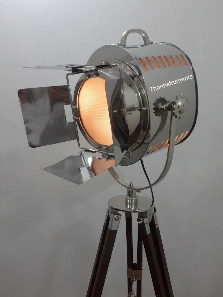 Vintage Movie Stage Search Focus Spot Light With Wooden Brown Tripod Stand