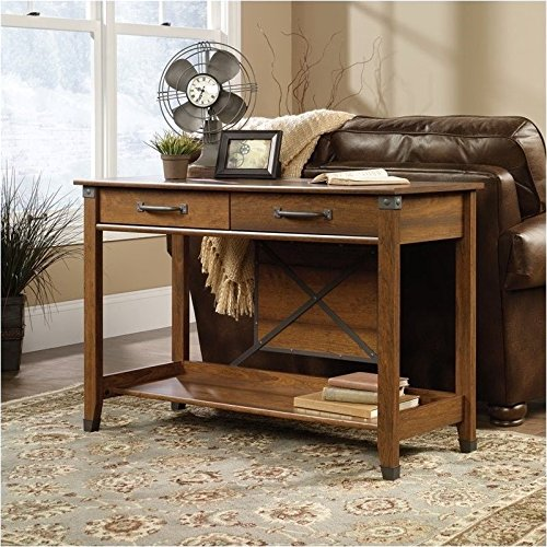 sauder-carson-forge-sofa-table-washington-cherry-finish