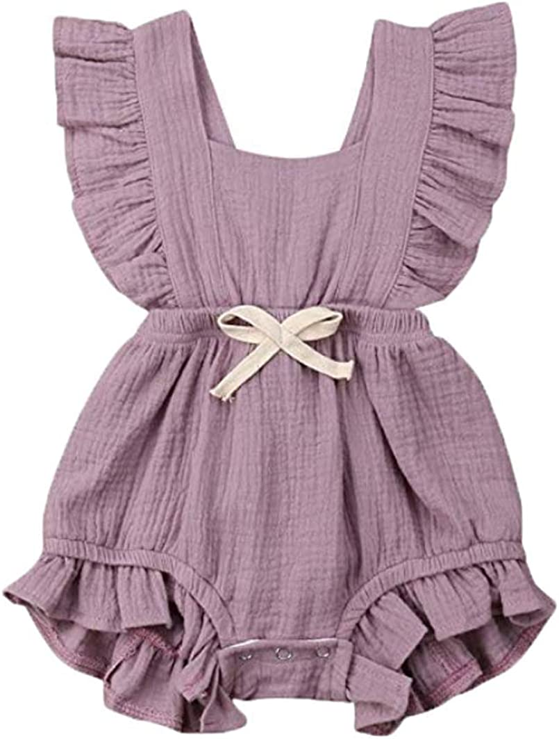 Swibow Toddler Baby Girl Ruffled Collar Sleeveless Romper Jumpsuit Clothes