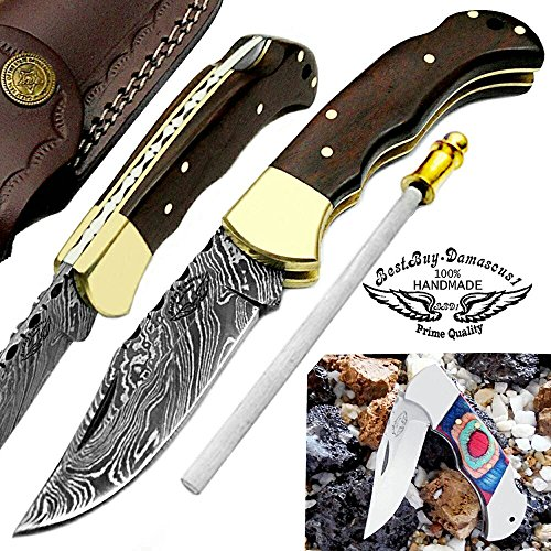 Rose Wood 6.5'' Handmade Damascus Steel Brass Bloster Back Lock Folding Pocket Knife 100% Prime Quality Sharpening Rod Plus Multi Wood Stainless Steel Pocket Knive