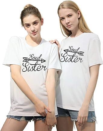 Mejores Amigas Camiseta para 2 BFF Camisetas Flecha Best Friends para 2 Mujer Impresión Hermana Camisa Sister T-Shirts Regalo de cumpleaños Verano Manga Corta Mujer 100% Algodón Negro Blanco 2 Piezas: Amazon.es: