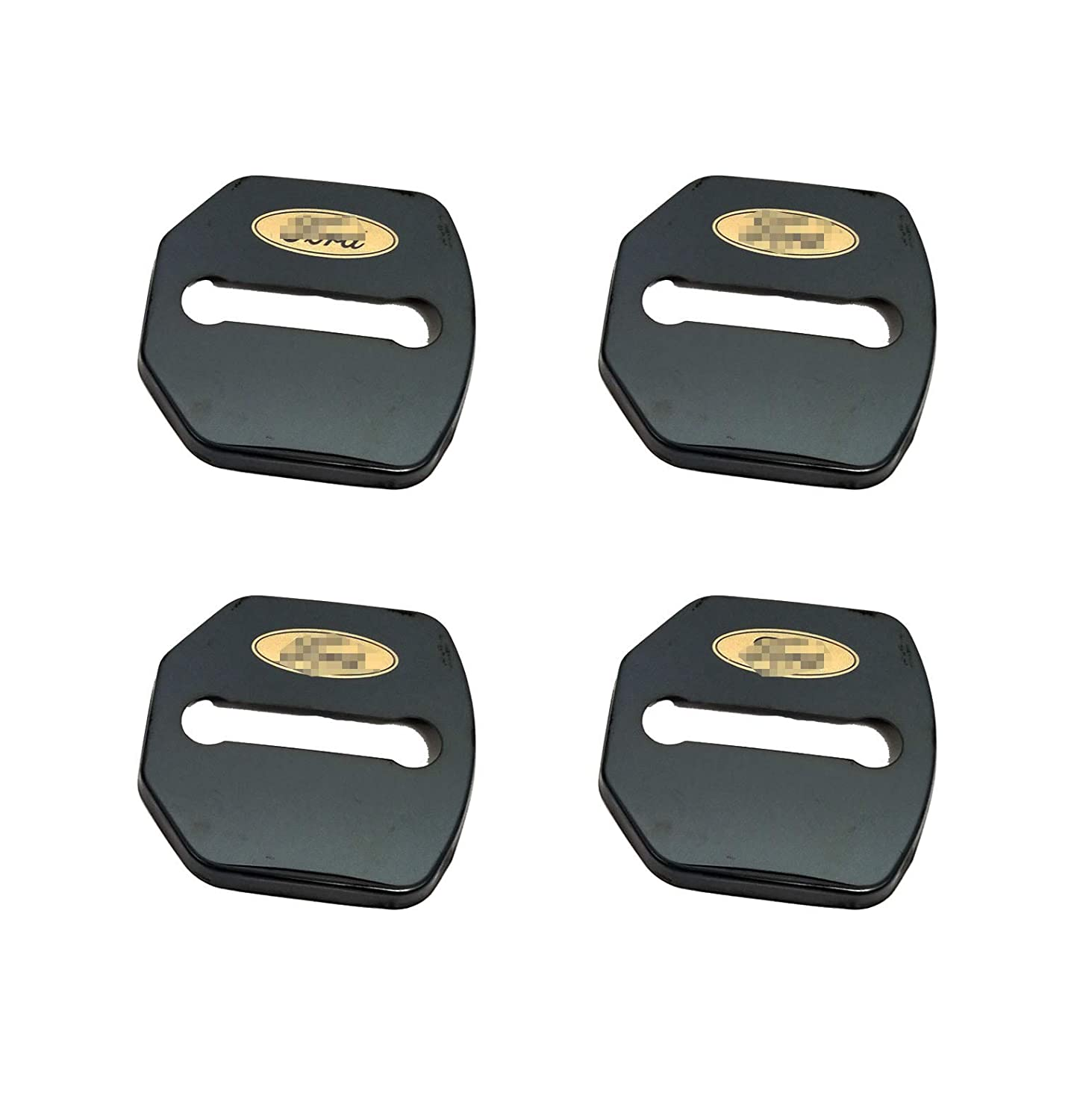 Stainless Steel Door Lock Striker Cover with 3M Adhesive Backing Lock Protector Buckle Decorative Cover for JEEP Accessories Pack of 4 Black