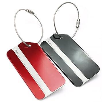 2 x Etiquetas Aluminio Equipaje Para Escribir Nombre Direcciones Maleta Viaje: Amazon.es: Equipaje