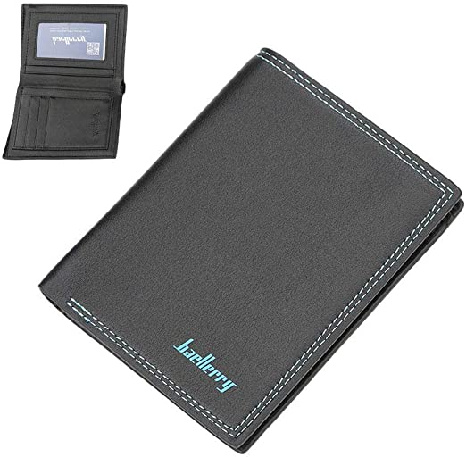 Luxury High Quality Mens Black PU Leather Bifold Wallet Credit Card Holder Gift