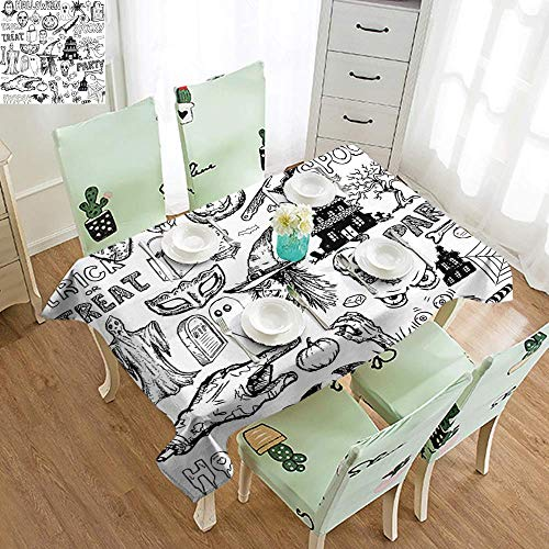 DILITECK Easy Care Tablecloth Vintage Halloween Hand Drawn Halloween Doodle Trick or Treat Party Severed Hand Design Picnic W54 xL84 Black White]()