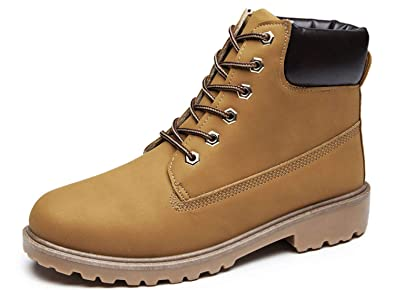 YATB Mens Work Boots Round Toe Leather Insulated Construction Non-Slip Work  Shoes High Top 0043d2c83fd8