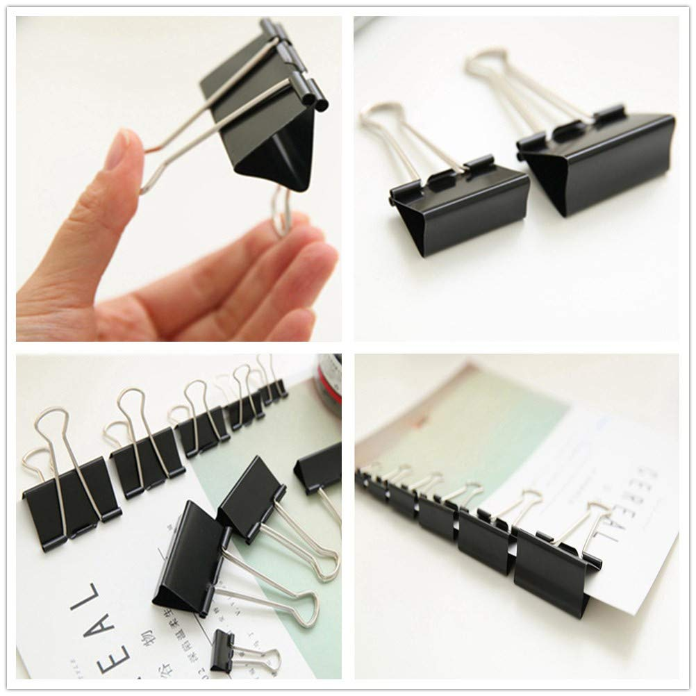 5 Assorted Sizes MAIKEHIGH 72 Pieces FoldBack Binder Clips Paper Metal Binder Clamps for Notes Letter Paper Clip Office Supplies Black