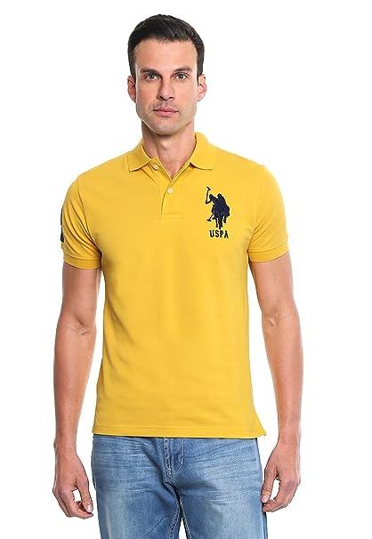 US Polo ASSN Playera Amarilla 3 Manga Corta Polo para Hombre Amarillo Talla  XL adb63cf20a7ac