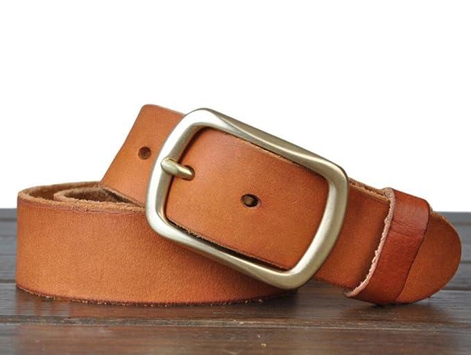 c00f7ba4b2c Hombres Cinturones Retro Piel completo grano piel cinturón para hebilla de  cobre  Pur hombres con