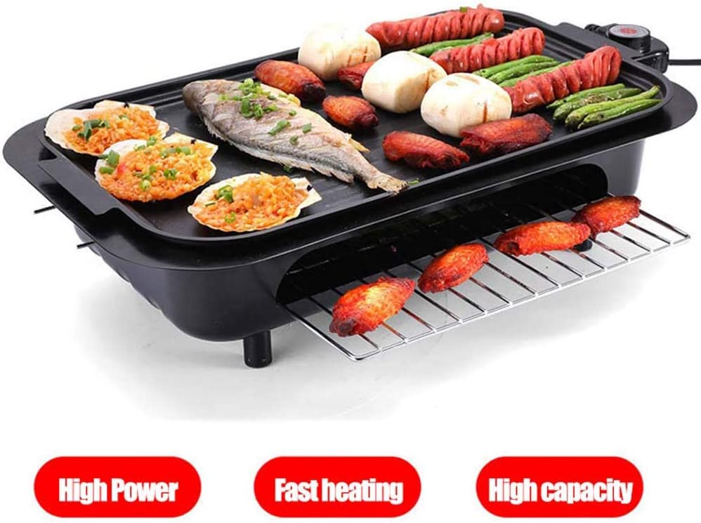 Portable Griddle Electric Nonstick Electric Grill Smokeless, 5 Level Temperature Control, 2 Layer Cooking Zones with 3 Non-Stick Interchanable Griddle Plate, All Removable Washable, 2200W