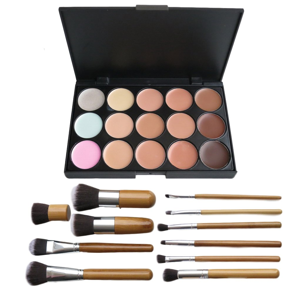 Brand New 15 Color Concealer Palette Kit with 11pcs Bamboo Brush Face Makeup Contour Cream The Best Kingdom