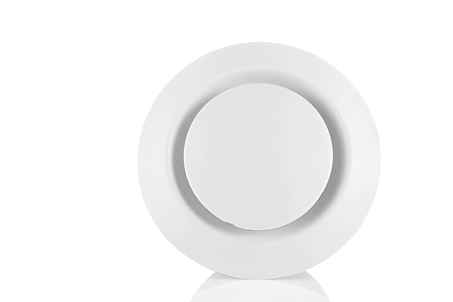 HG POWER ABS Adjustable Air Vent Round Soffit Exhaust Vent White Inline Duct Fan Outlet Vent 4 Inch