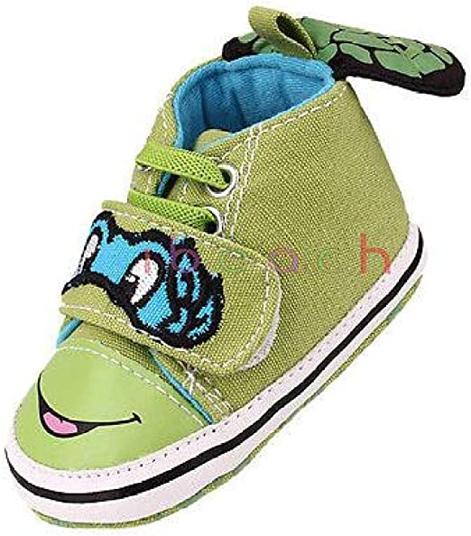 FidgetGear Infant Toddler Baby Boy Ninja Turtles Crib Shoes Size 0-6 6-12 12-18 Months 6-12 Months