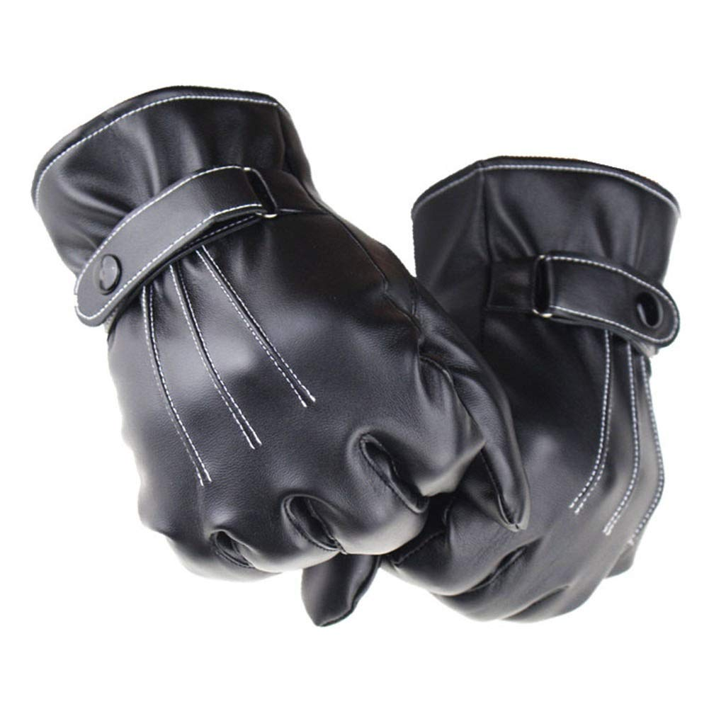 MORYSONG Mens Touchscreen Winter PU Leather Driving Gloves with Fleece Lining