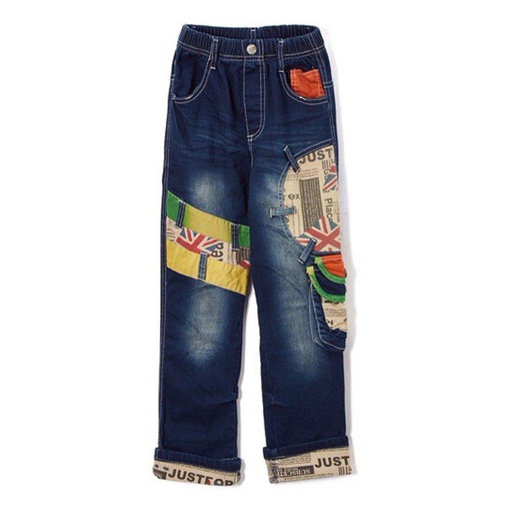 Rock'nStyle Little Boys Blue British Flag Patch Pockets Denim Pants 6/7