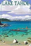 Lake Tahoe - Kayakers in Secret Cove (12x18 Art Print, Wall Decor Travel Poster)