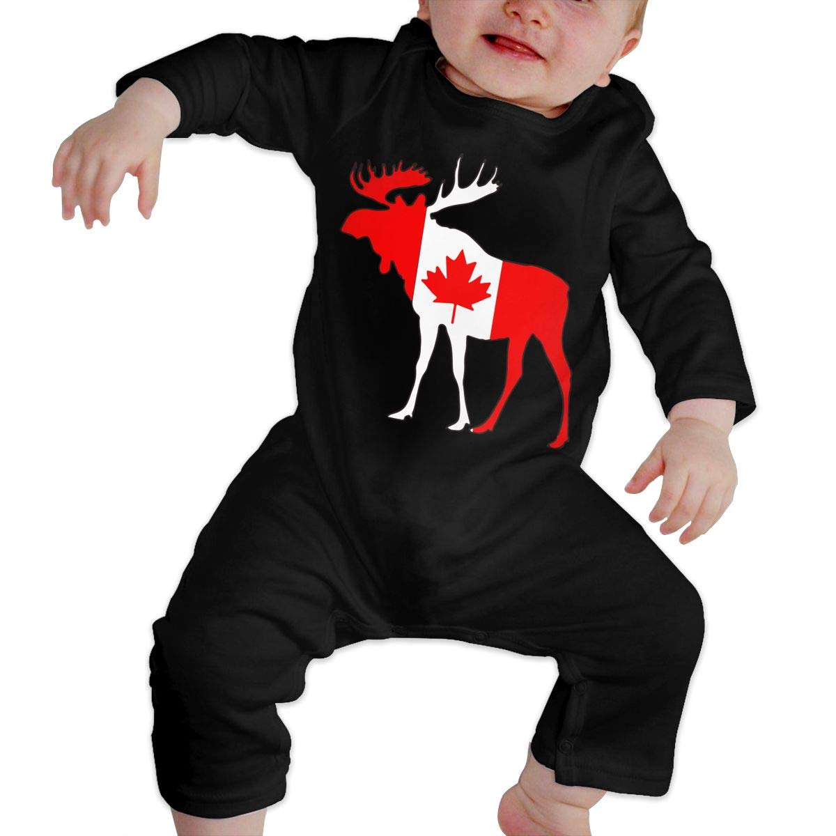 UGFGF-S3 Moose and Canadian Flag Long Sleeve Infant Baby Romper Jumpsuit Onsies 6-24 Months Baby Bodysuit