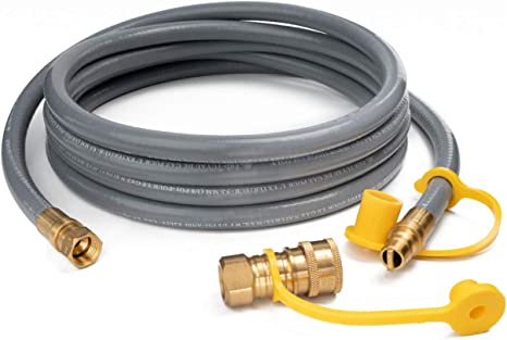 """2FT CRIMPED NATURAL GAS PROPANE LOW PRESSURE HOSE 3//4/"""" ID SUPPLY QUICK CONNECT"""