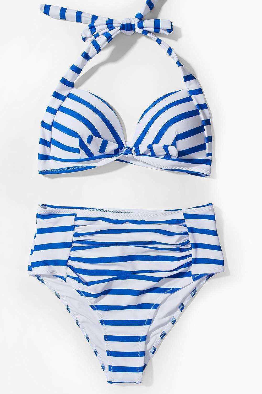 CUPSHE Womens Faint Fragrance Printing High-Waisted Halter Bikini Set Swimsuit Beach Swimwear Bathing Suit