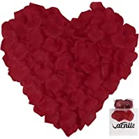 VACNITE Dark Red Rose Petals for Romantic Night, Wedding, Decoration, 1200 Pcs Large Size 2.4 '' x 2.4 '' Non-Woven…