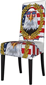 Dining Chair Cover 1 Piece American Eagle with USA Flags Patriotic Dining Room Chair Slipcovers Seat Covers for Dining Room High Back Short Chairs, Banquet, Hotel, Ceremony, Wedding Party