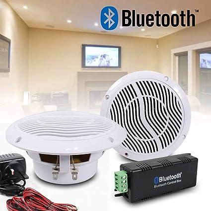 E Audio Bluetooth Ceiling Speaker Kit Bathroom Wireless Bluetooth Amplifier Water Resistant Ceiling Speakers 2 Way