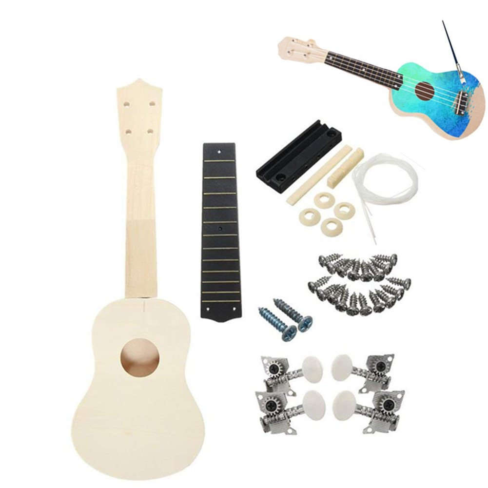 sptblanche Ukulele 21 Inch Fun DIY Kit for Kids and Beginners Build Your Own Student Instrument Painted Handwork Painting Children's Toy Assembly for Amateur Ukuleles Musical Toy Gifts