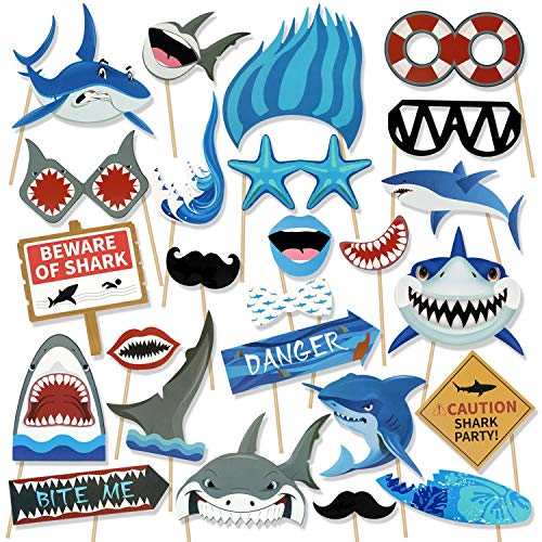 Konsait Shark Photo Booth Props(25Count), Ocean Sea Themed Jawsome Shark Party Photo Props Birthday Party Photo Booth Props for Kids Boys Party Decoration Blue Shark Zone Party -