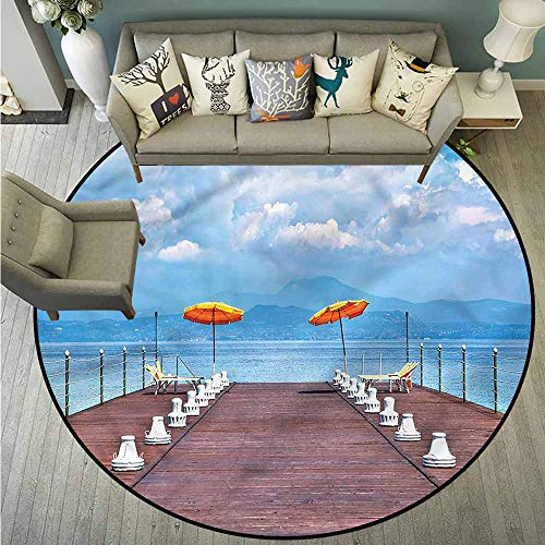 Living Room Area Round Rugs,Seascape,Sunshine Sun Beds on Jetty,Large Area mat,4'3