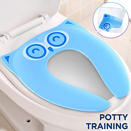 Foldable Toddler Travel Toilet Training Seat with 6 Pieces Anti Skid Silicone Pads Yellow Carry Bag Included 2019 Upgrade Linksworld Sturdy Portable Potty Training Seat for Toddlers and Kids