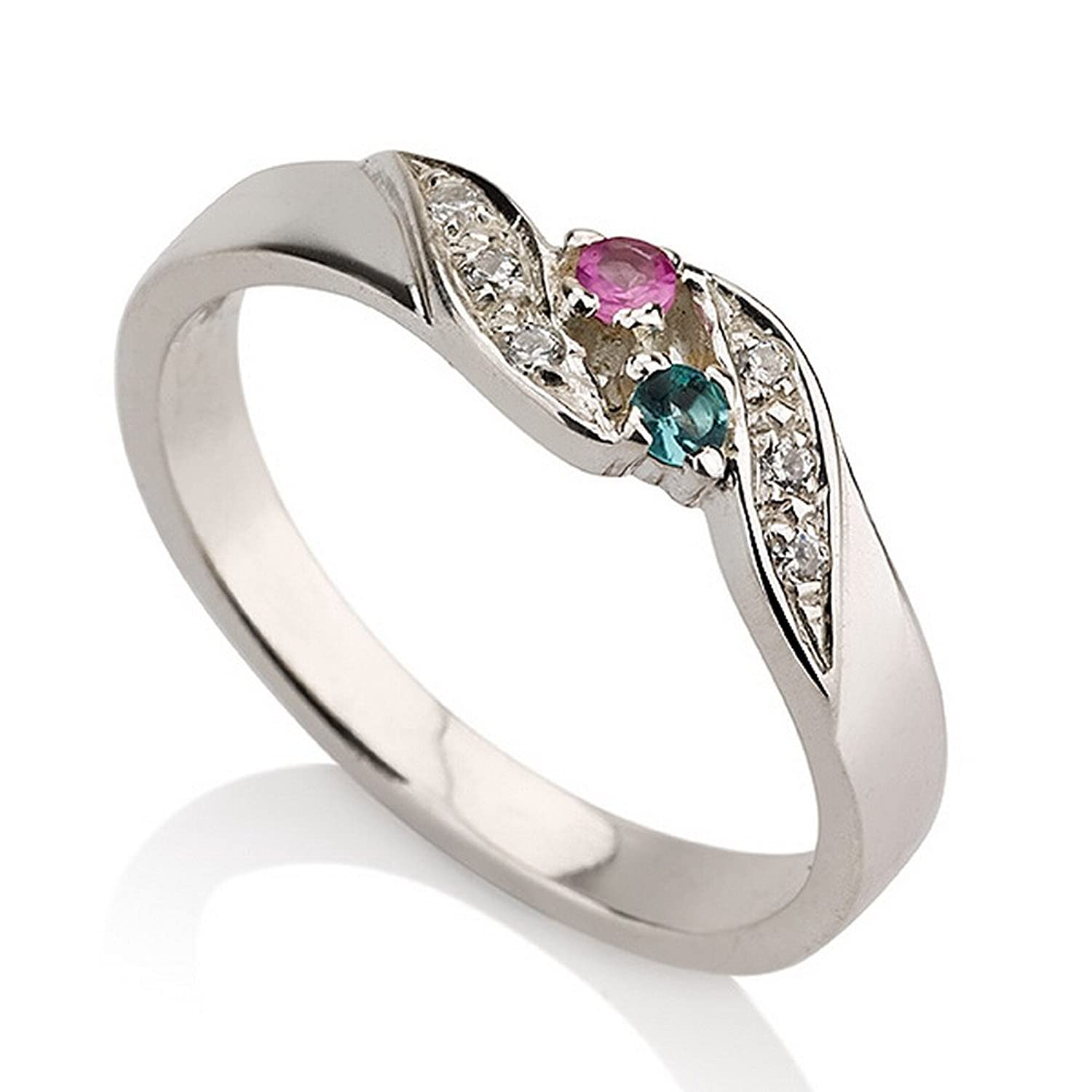 Amazon.com: Promise Ring Sterling Silver Simulated Birthstone Ring ...