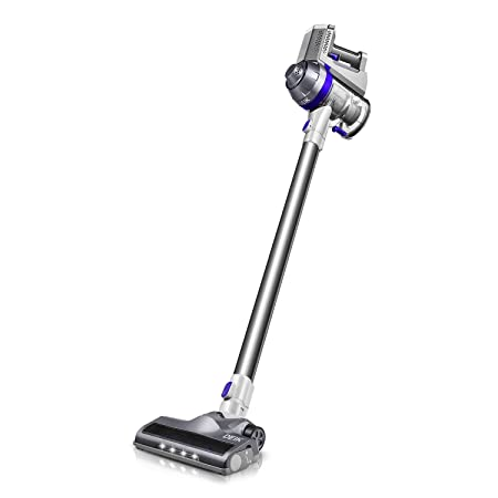 Cordless Vacuum, Deik Stick Vacuum Cleaner, Lightweight 2 in 1 Handheld Rechargeable Vacuum with Powerful Suction and LED Brush for Home and Car Cleaning Blue