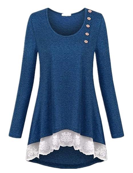 08de43d20de Women s Tops Side Button Lace Hem Flowy Tunic Shirt Plus Size Top Blouses