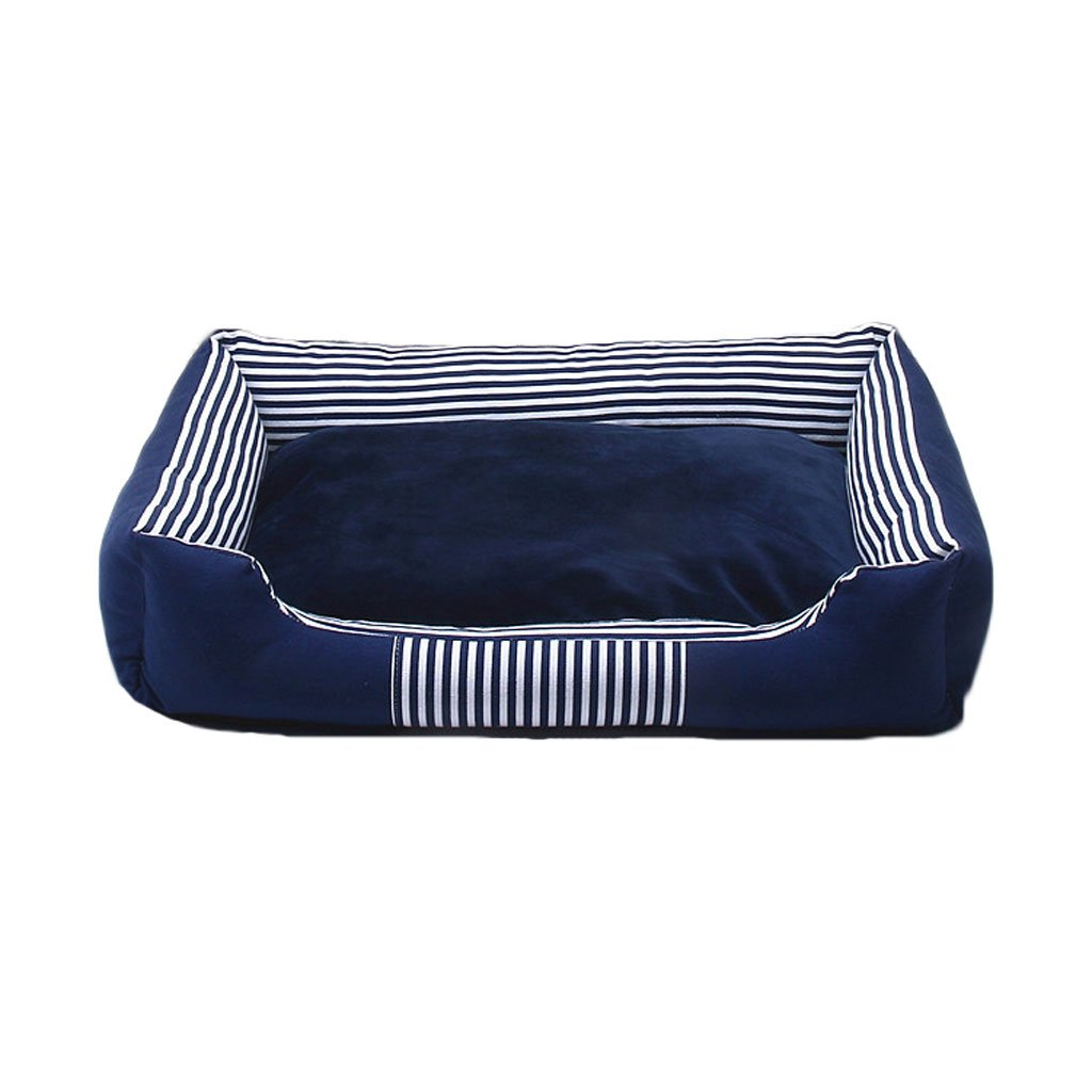 bluee L bluee L Pet Bed Printing Canvas Kennel Four Seasons Universal Soft And Comfortable Breathable Waterproof Non-slip Durable Multi-color Optional A04 Dog Bed (color   bluee, Size   L)
