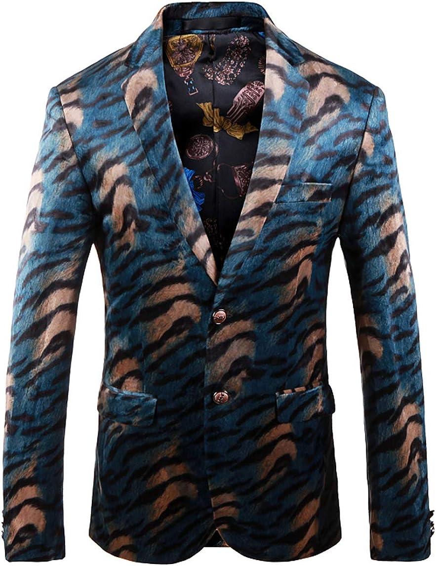 OUYE Men's Blue Leopard 2 Button Sport Coat