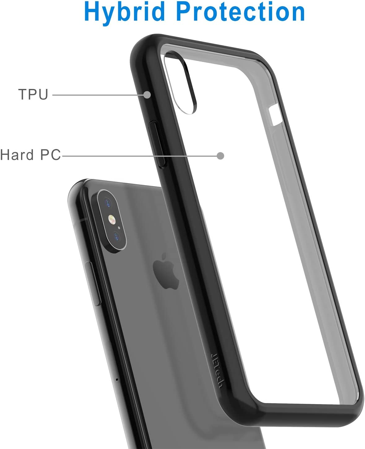 JETech Case for Apple iPhone Xs and iPhone X Black Shock-Absorption Bumper Cover