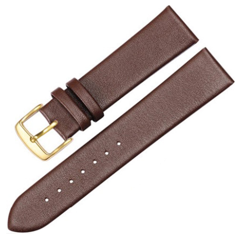 12-17mm New Genuine Leather Gold Clasp Wrist Watch Bands Strap Replacement for Ladies Womens (13mm, Brown)
