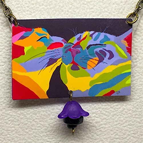 ''In Love'', Cat Necklace, Cat Earrings, Cat Art, Abstract and Colorful, From Original Art by Artist, Patti Siehien, Abstract Art, Ships Free by The Nurse Made  Metalologie