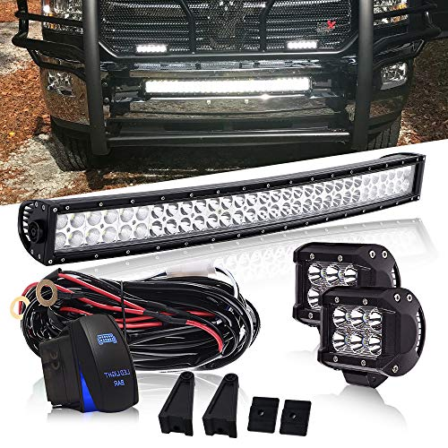 DOT 32 Inch 180W Curved Led Light Bar + 2PCS 4 Inch 18W Cube
