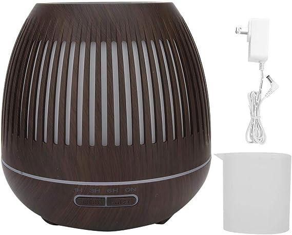 エッセンシャルオイルディフューザー、400 mlエッセンシャルオイルディフューザー加湿器ディフューザー木目アロマディフューザー7 LED色変更ランプ(我ら)