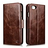 iPhone 6 / 6S Case, Icarercase Oil Wax Vintage Genuine Leather Detachable 2 in 1 Case, Wallet Folio Flip and Back Cover Design with Magnetic Strap for iPhone 6 / 6S 4.7 inch (Coffee)