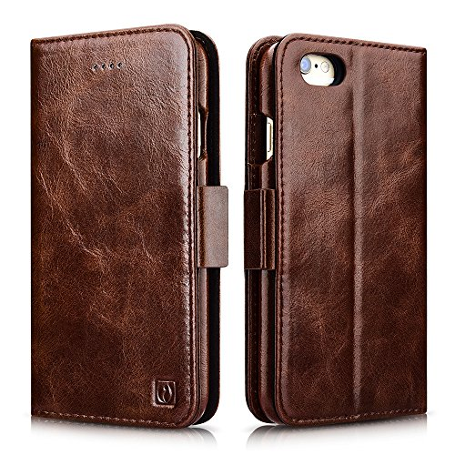 iPhone 6 / 6S Case, Icarercase Oil Wax Vintage Genuine Leather Detachable 2 in 1 Case, Wallet Folio Flip and Back Cover Design with Magnetic Strap for iPhone 6 / 6S 4.7 inch (Coffee) ()