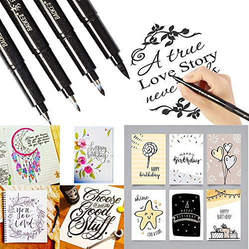 Euone Pens Clearance , 4 Sizes Ink Calligraphy Pen Hand Lettering Pens Brush Markers Drawing Art Marker -