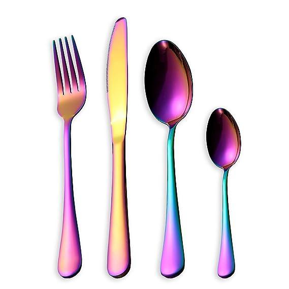 HOMQUEN Set de cubiertos de colores de 16 piezas, Set de cubiertos de acero inoxidable de 18/0, servicio para 4 personas, vajilla de comedor (color de ...